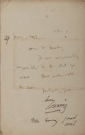 """Autographs:Authors, Bram Stoker and Henry Irving. Autograph Letter Signed, """"HenryIrving,"""" one page, May 1897, Lyceum Theater stationery, single..."""