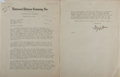 """Autographs:Authors, Irving Stone. Typed Letter Signed, """"Irving Stone,"""" two pages, Universal Pictures Company, Inc., December 21, 1945, to Mr. D...."""