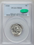Buffalo Nickels: , 1928 5C MS66 PCGS. CAC. PCGS Population (194/13). NGC Census:(50/6). Mintage: 23,411,000. Numismedia Wsl. Price for proble...