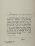 "Autographs:Statesmen, Joseph P. Kennedy. Typed Letter Signed, ""Joe,"" one page, London,November 25, 1938, United States Embassy stationery, 8 x 10..."