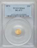 California Fractional Gold: , 1873 25C Indian Round 25 Cents, BG-872, R.5, MS64 PCGS. PCGSPopulation (21/3). NGC Census: (1/1). ...