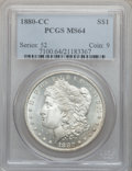 Morgan Dollars: , 1880-CC $1 MS64 PCGS. PCGS Population (4391/3033). NGC Census:(3004/1813). Mintage: 591,000. Numismedia Wsl. Price for pro...