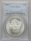 Morgan Dollars: , 1886-S $1 MS64 PCGS. PCGS Population (1225/308). NGC Census:(716/129). Mintage: 750,000. Numismedia Wsl. Price for problem...