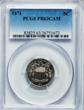 Proof Shield Nickels: , 1871 5C PR63 Cameo PCGS. PCGS Population (2/49). NGC Census:(3/37). ...