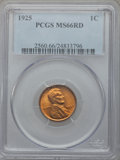 Lincoln Cents: , 1925 1C MS66 Red PCGS. PCGS Population (346/57). NGC Census:(100/26). Mintage: 139,948,992. Numismedia Wsl. Price for prob...
