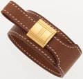 Luxury Accessories:Accessories, Hermes Noisette Epsom Leather Leather Artemis Bracelet with Gold Hardware. ...