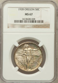 Commemorative Silver: , 1928 50C Oregon MS67 NGC. NGC Census: (82/3). PCGS Population(64/2). Mintage: 6,028. Numismedia Wsl. Price for problem fre...