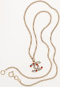 Luxury Accessories:Accessories, Chanel Gold CC Necklace with Multicolor Crystals. ...