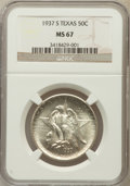 Commemorative Silver: , 1937-S 50C Texas MS67 NGC. NGC Census: (95/5). PCGS Population(86/0). Mintage: 6,637. Numismedia Wsl. Price for problem fr...