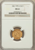 Liberty Quarter Eagles: , 1861 $2 1/2 New Reverse, Type Two MS61 NGC. NGC Census: (395/689).PCGS Population (108/489). Mintage: 1,283,878. Numismedi...