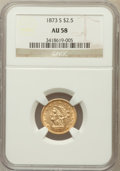 Liberty Quarter Eagles: , 1873-S $2 1/2 AU58 NGC. NGC Census: (51/22). PCGS Population(14/10). Mintage: 27,000. Numismedia Wsl. Price for problem fr...