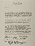 """Autographs:Authors, Dean Koontz. Typed Letter Signed, """"Dean R. Koontz,"""" two pages, personal stationery, April 12, 1989, Orange, California (pres..."""