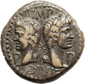 Ancients:Roman Provincial , Ancients: Augustus (27 BC-AD 14) with Marcus Agrippa (died 12 BC).Orichalcum dupondius (28mm, 13.21 gm, 6h)....