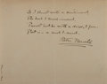 "Autographs:Authors, Peter Newell. Autograph Poem Signed, ""Peter Newell,"" one page, March 15, 1902 (in recipient's hand at bottom edge), plain pa..."