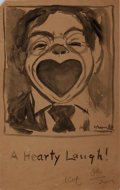 "Autographs:Authors, Peter Newell. Original Illustration Signed, ""Newell."" Measures 5 x8 inches. A whimsical drawing of a boy laughing, titled i..."