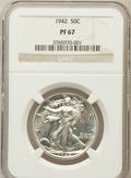 Proof Walking Liberty Half Dollars: , 1942 50C PR67 NGC. NGC Census: (830/159). PCGS Population (761/39).Mintage: 21,120. Numismedia Wsl. Price for problem free...