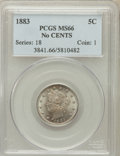 Liberty Nickels: , 1883 5C No Cents MS66 PCGS. PCGS Population (358/16). NGC Census:(467/59). Mintage: 5,479,519. Numismedia Wsl. Price for p...