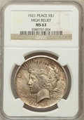 Peace Dollars: , 1921 $1 MS63 NGC. Ex: High Relief. NGC Census: (2815/4612). PCGSPopulation (3604/5110). Mintage: 1,006,473. Numismedia Wsl...
