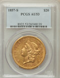 Liberty Double Eagles: , 1857-S $20 AU53 PCGS. PCGS Population (51/268). NGC Census:(113/575). Mintage: 970,500. Numismedia Wsl. Price for problem ...