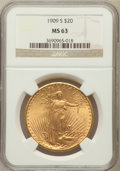 Saint-Gaudens Double Eagles: , 1909-S $20 MS63 NGC. NGC Census: (1711/1601). PCGS Population(1876/2132). Mintage: 2,774,925. Numismedia Wsl. Price for pr...