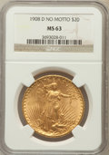 Saint-Gaudens Double Eagles: , 1908-D $20 No Motto MS63 NGC. NGC Census: (1475/654). PCGSPopulation (1355/1631). Mintage: 663,750. Numismedia Wsl. Price ...