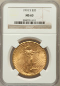 Saint-Gaudens Double Eagles: , 1910-S $20 MS63 NGC. NGC Census: (1077/615). PCGS Population(1178/1252). Mintage: 2,128,250. Numismedia Wsl. Price for pro...