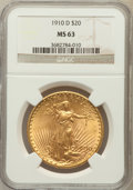 Saint-Gaudens Double Eagles: , 1910-D $20 MS63 NGC. NGC Census: (2083/2216). PCGS Population(1664/3061). Mintage: 429,000. Numismedia Wsl. Price for prob...