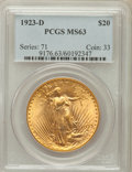 Saint-Gaudens Double Eagles: , 1923-D $20 MS63 PCGS. PCGS Population (1136/6583). NGC Census:(801/4497). Mintage: 1,702,250. Numismedia Wsl. Price for pr...
