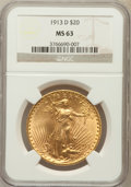 Saint-Gaudens Double Eagles: , 1913-D $20 MS63 NGC. NGC Census: (1091/994). PCGS Population(1224/1637). Mintage: 393,500. Numismedia Wsl. Price for probl...