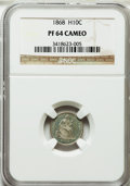 Proof Seated Half Dimes: , 1868 H10C PR64 Cameo NGC. NGC Census: (11/8). PCGS Population(12/13). ...