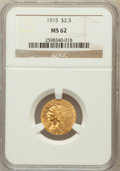 Indian Quarter Eagles: , 1915 $2 1/2 MS62 NGC. NGC Census: (3421/3129). PCGS Population(1536/1995). Mintage: 606,000. Numismedia Wsl. Price for pro...