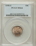 Barber Dimes: , 1898-S 10C MS64 PCGS. PCGS Population (22/11). NGC Census: (5/9).Mintage: 1,702,507. Numismedia Wsl. Price for problem fre...