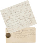 Autographs:Military Figures, [Capture of Jefferson Davis]. Archive of Statements and Letters from the Papers of Robert Burns...