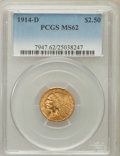 Indian Quarter Eagles: , 1914-D $2 1/2 MS62 PCGS. PCGS Population (1658/1799). NGC Census:(3408/2784). Mintage: 448,000. Numismedia Wsl. Price for ...