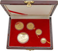 China:People's Republic of China, China: People's Republic of China Five-piece Proof gold Panda Set 1990,... (Total: 5 coins)