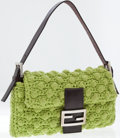 Luxury Accessories:Bags, Fendi Lime Green Knit Baguette Shoulder Bag. ...