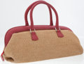 Luxury Accessories:Bags, Fendi Red Leather and Beige Straw Selleria Tote Bag. ...