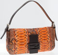 Luxury Accessories:Bags, Fendi Orange Python Baguette Shoulder Bag. ...