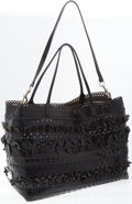 Luxury Accessories:Bags, Valentino Black Perforated Leather Large Tote Bag with FlowerAppliqués. ...