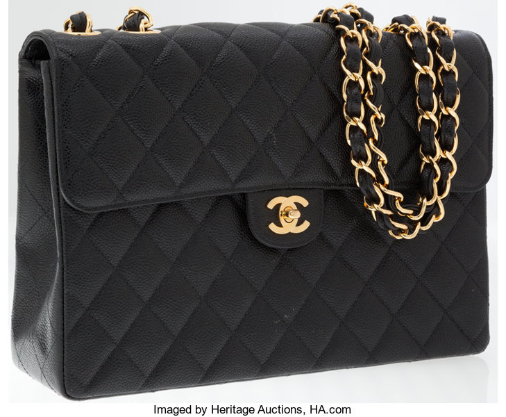 c3cf9e1c39d5 Luxury Accessories:Bags, Chanel Black Caviar Leather Jumbo Single Flap Bag  with GoldHardware.