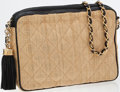 Luxury Accessories:Bags, Chanel Quilted Straw Shoulder Bag With Black Leather and GoldHardware. ...