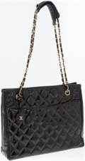 Luxury Accessories:Bags, Chanel Black Quilted Patent Leather Shoulder Bag. ...
