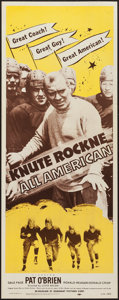 """Movie Posters:Sports, Knute Rockne - All American (Dominant, R-1956). Insert (14"""" X 36""""). Sports.. ..."""