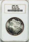 Morgan Dollars: , 1885 $1 MS65 Deep Mirror Prooflike NGC. NGC Census: (203/59). PCGSPopulation (303/67). Numismedia Wsl. Price for problem ...