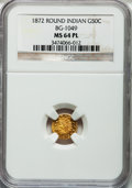 California Fractional Gold: , 1872 50C Indian Round 50 Cents, BG-1049, R.4, MS64 Prooflike NGC.NGC Census: (3/2). ...
