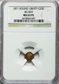 California Fractional Gold: , 1871 25C Liberty Round 25 Cents, BG-839, Low R.4, MS63 ProoflikeNGC. NGC Census: (12/2). ...