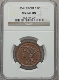 1856 1C Upright 5 MS64+ Brown NGC. NGC Census: (217/163). PCGS Population (89/28). Mintage: 2,690,463. Numismedia Wsl. P...