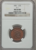 Half Cents: , 1851 1/2 C MS64 Red and Brown NGC. C-1. NGC Census: (13/2). PCGSPopulation (14/2). Mintage: 147,672. Numismedia Wsl. Pric...