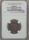 Half Cents, 1795 1/2 C Lettered Edge -- Environmental Damage -- NGC Details.VF. C-1. NGC Census: (2/37). PCGS Population (7/75). Mint...