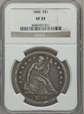 Seated Dollars: , 1846 $1 VF35 NGC. NGC Census: (7/378). PCGS Population (30/477).Mintage: 110,600. Numismedia Wsl. Price for problem free N...